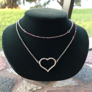 Genuine garnet gemstones cz heart steel necklaces
